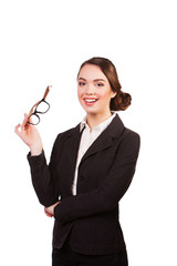 happy smiling young business woman in glasses, isolated over