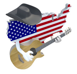 American map with arms and hat that play guitar, 3d illustration