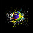 brazil flag with soccer ball dash on colorful & grunge texture