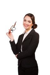 beautiful happy smiling young business woman in glasses,
