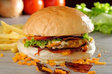 Gourmet American bacon and cheese hamburger