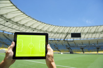 Hands Holding Tactics Board Football Stadium Rio Brazil