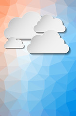 Abstract paper clouds on triangle background