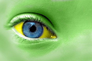 Eye with Brazil national colours concept