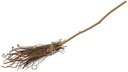 Old broom isolated. Illustration in vector forma