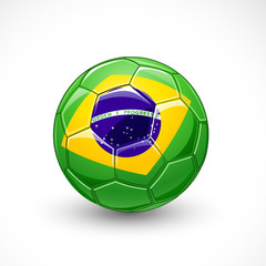 Soccer ball with brazil flag. Vector