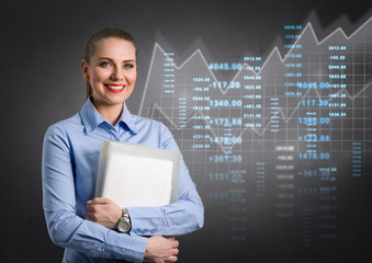 business woman with virtual graphic in background