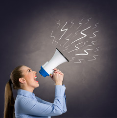 Leader woman  shouting into megaphone
