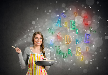 cook woman with glowing vitamins