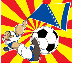 Bosnia and herzegovina soccer player vector cartoon in eps10