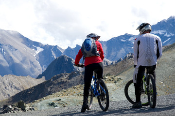 Mountainbiker in den Alpen