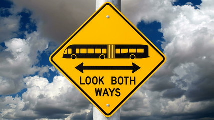 Look Both Ways Bus Warning Sign Time Lapse