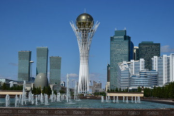 A city view in Astana / Kazakhstan - with the Baiterek Tower