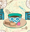 Vintage tea time background, seamless pattern