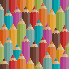 Seamless pattern with colored pencils in retro style.