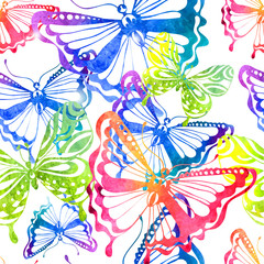 Colorful background with watercolor butterfly, seamless pattern