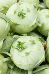 Large kohlrabis or turnips shot from above