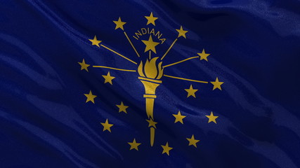 US state flag of Indiana waving in the wind - loop