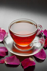 herbal tea with rose petals