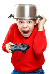 Shouting boy with gamepad in hands
