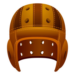 Vintage, old leather american football helmet