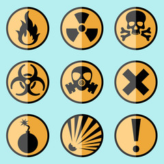 Flat warning signs labels