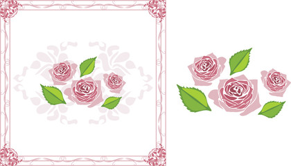 Ornamental frame with blooming stylized pink roses
