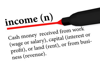 dictionary term of income isolated on white background
