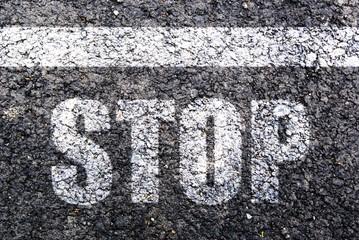 Stop,line on asphalt