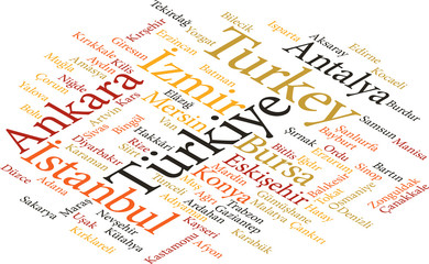 cities of Turkey in word clouds
