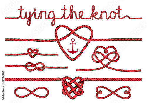 tying the knot, rope hearts for wedding, vector set