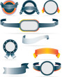 collection of silver and orange modern flat badges and ribbons