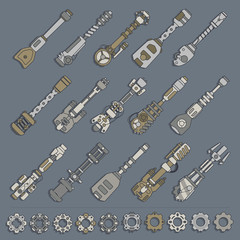 large set of weapons and gears