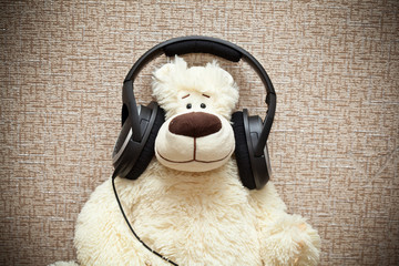 Teddy bear with headphones