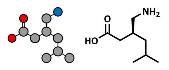 Pregabalin epilepsy and fibromyalgia drug, chemical structure.