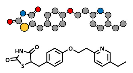 Pioglitazone diabetes drug, chemical structure.