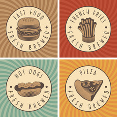 set of four banners with fast food and pizza in retro style