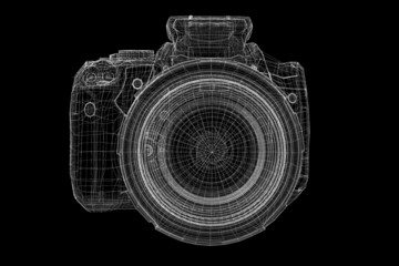 Black digital camera isolated