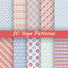 Yoga vector seamless patterns (tiling)