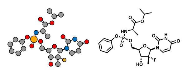 Sofosbuvir hepatitis C virus drug, chemical structure.