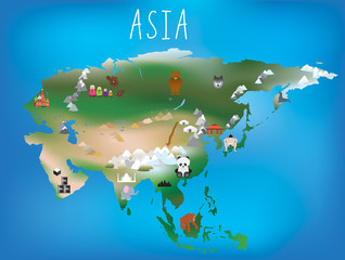 Childrens map, asia and asian continent with landmarks and anima
