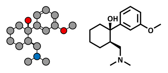 Tramadol opioid analgesic drug, chemical structure.
