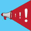 Megaphone with growing exclamation marks
