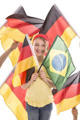 Mädchen mit 2 Flaggen mit Hintergrund