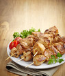 grilled pork meat kebab