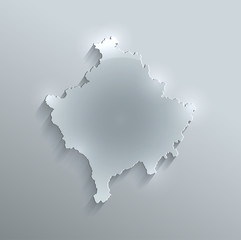 Kosovo map glass card paper 3D vector