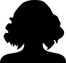 Silhouette lockige Frau
