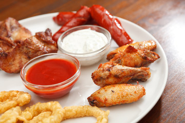 Appetizer plate with dipping sauces