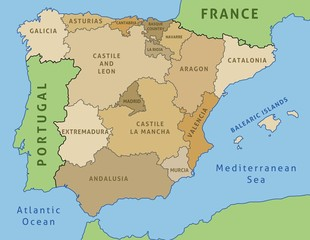 Spain map - vector illustration