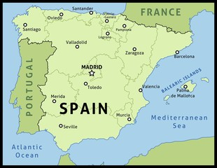 Map of Spain - vector illustration
